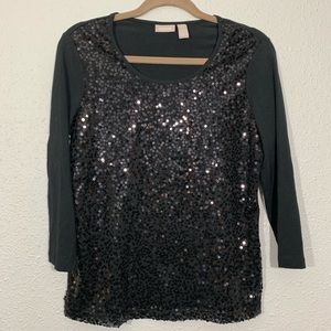 Chico's Black Sequin 3/4 sleeve T-Shirt size XS